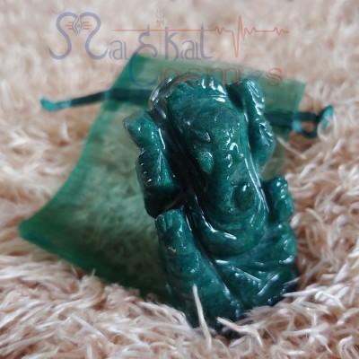 Onyx Ganesha Idol (Dark Green)