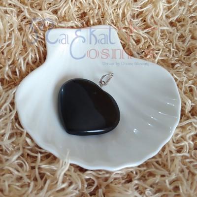 Black Tourmaline Crystal Polished Pendant (Heart Shape)