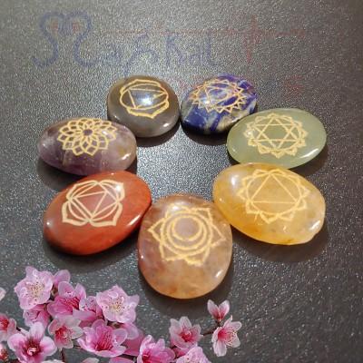 Seven Chakra Oval Crystal Reiki Healing Set