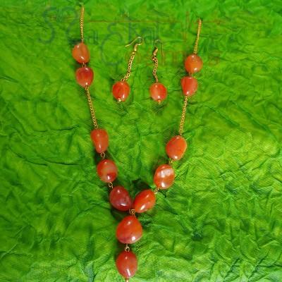 Carnelian Tumble Set (Necklace + Earrings)