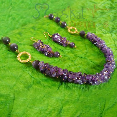 Amethyst Chips & Beads Set (Necklace + Earrings)