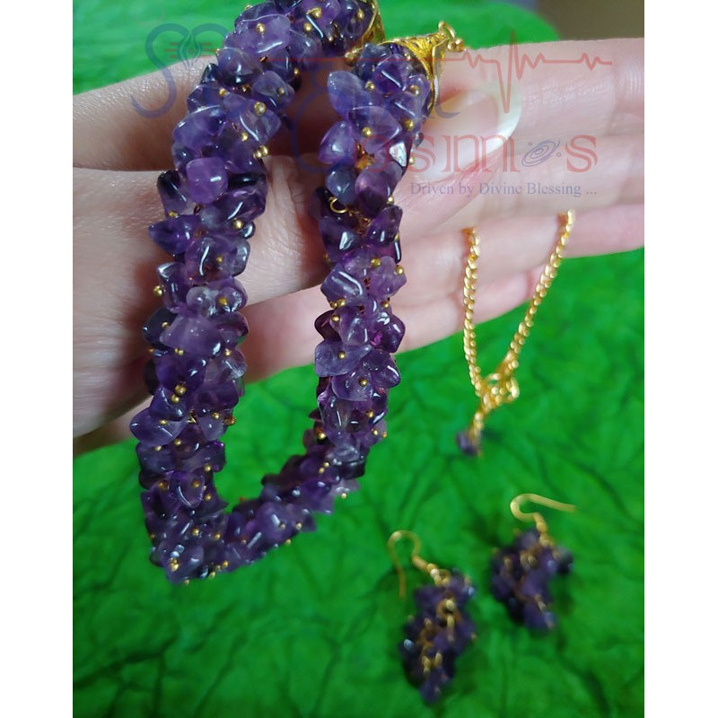 Amethyst Chips Set (Necklace + Earrings)