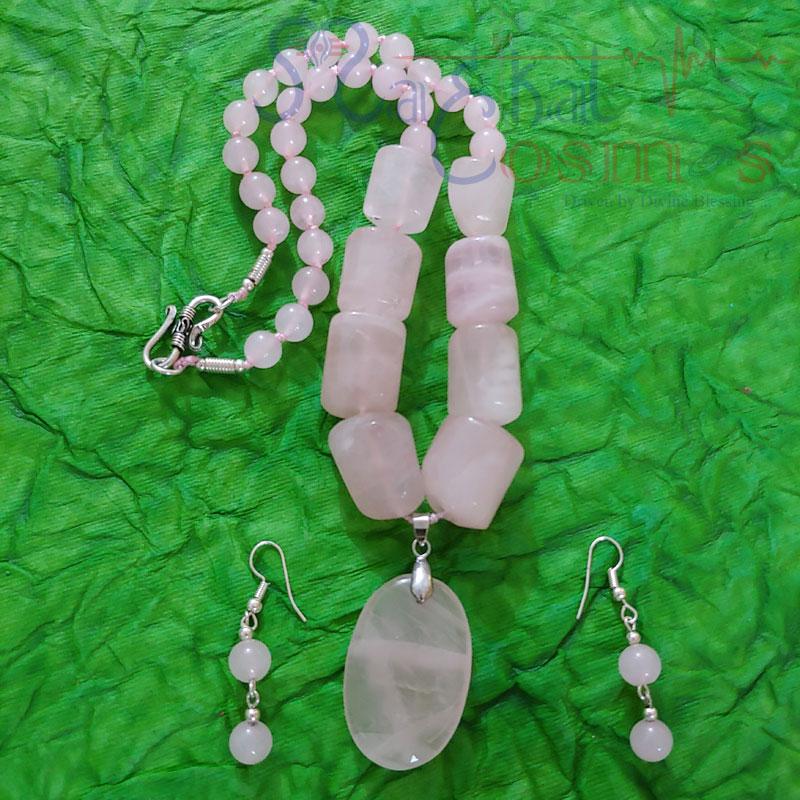 Rose Quartz Oval Pendent Tumble Set (Necklace + Earrings)