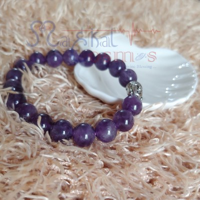 Amethyst Bracelet with Budha charm 8mm