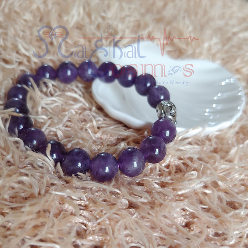 Amethyst Bracelet with Budha charm 8mm