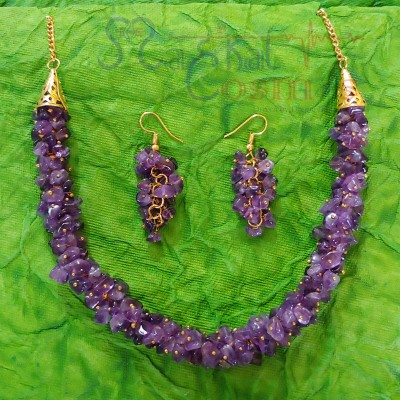 Amethyst Chips Set (Necklace + Earrings)