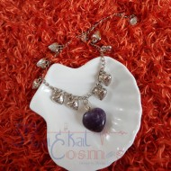 Amethyst Heart Shape S with alloy Bracelet