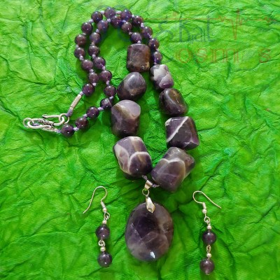 Amethyst Oval Pendent Tumble Set (Necklace + Earrings)