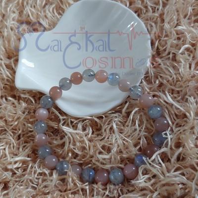 Peach Moonstone & Labrodarite Bracelet