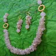 Rose Quartz Chips & Beads Set (Necklace + Earrings)