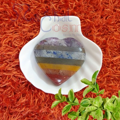 Seven Chakra Bonded Heart Stone