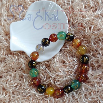 Seven Chakra Om mani Agate Bracelet 10mm