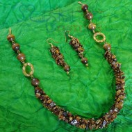 Tigers Eye Chips & Beads Set (Necklace + Earrings)